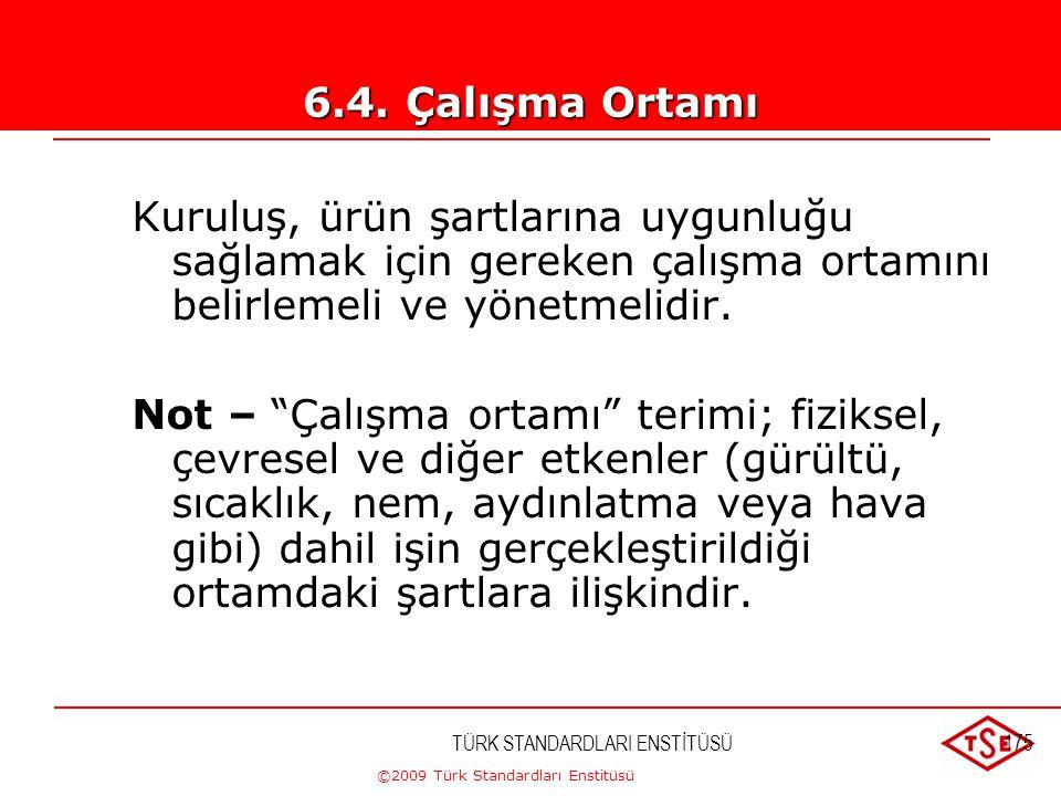 ©2009 Türk Standardları Enstitüsü TÜRK STANDARDLARI ENSTİTÜSÜ174 Kuruluş, ürün şartlarına uygunluğa ulaşmak için gereken altyapıyı belirlemeli, sağlam