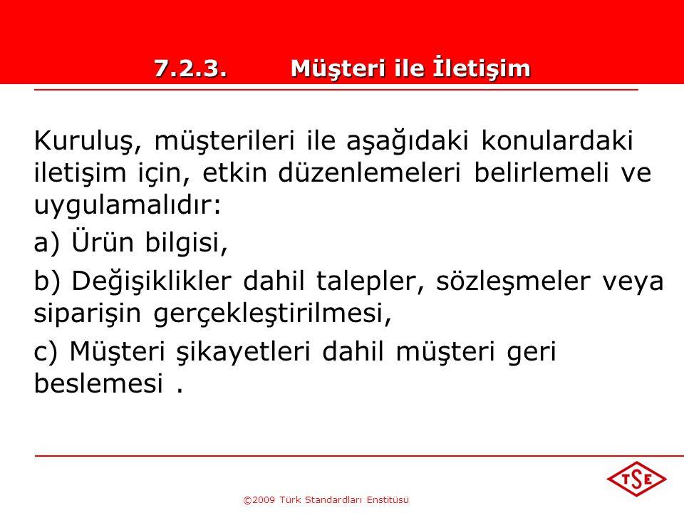 ©2009 Türk Standardları Enstitüsü 7.2.2.Ürüne İlişkin Şartların Gözden Geçirilmesi Gözden geçirmeye ve bu gözden geçirmeden kaynaklanan faaliyetlerin