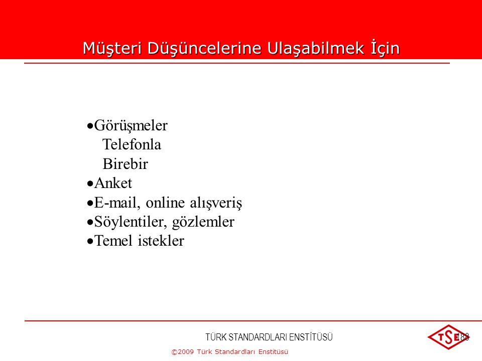 ©2009 Türk Standardları Enstitüsü 7.2.3.Müşteri ile İletişim Kuruluş, müşterileri ile aşağıdaki konulardaki iletişim için, etkin düzenlemeleri belirle