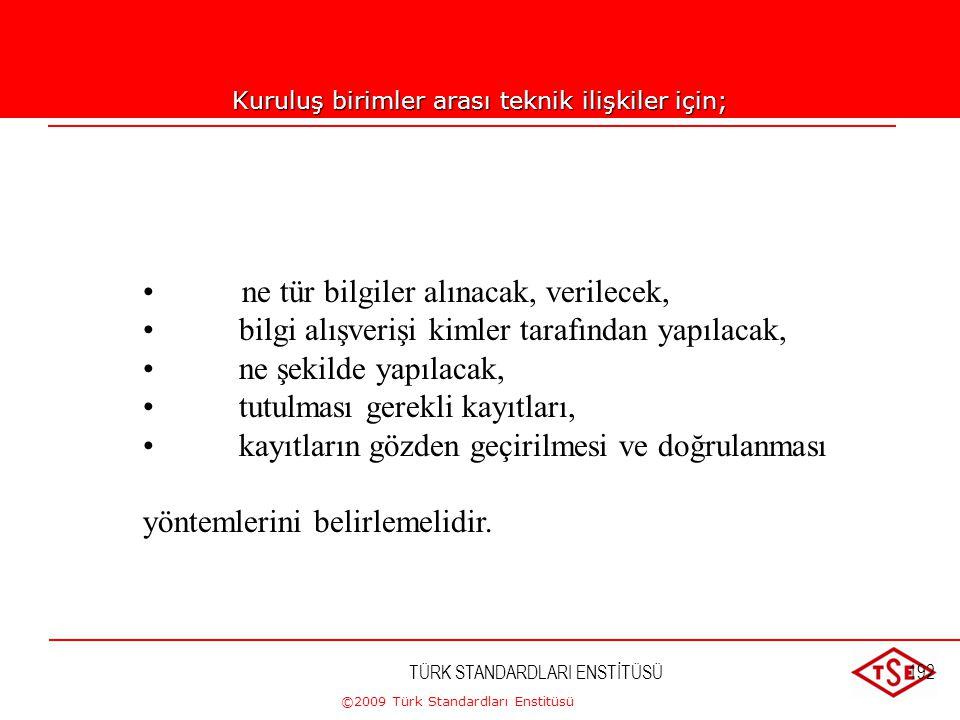 ©2009 Türk Standardları Enstitüsü TÜRK STANDARDLARI ENSTİTÜSÜ191 Tasarım ve Geliştirme Planlaması; 1- Proje tanımı ve aşamalarını 2- Her bir tasarım v