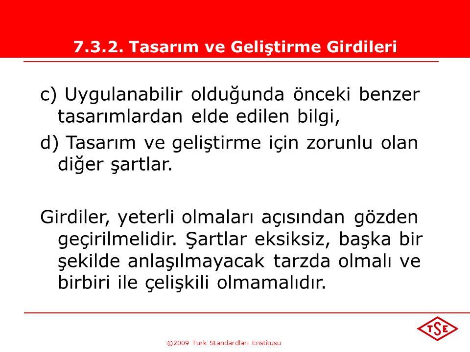 ©2009 Türk Standardları Enstitüsü 7.3.2. Tasarım ve Geliştirme Girdileri Ürün şartlarına ilişkin girdiler belirlenmeli ve kayıtları muhafaza edilmelid