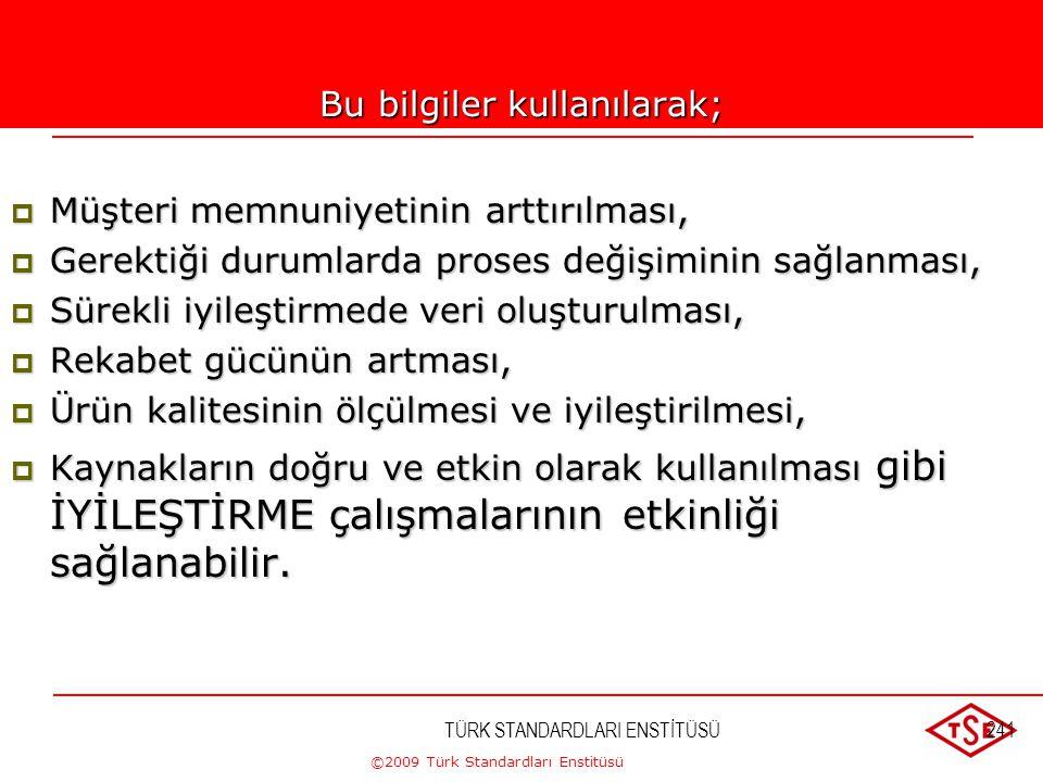 ©2009 Türk Standardları Enstitüsü TÜRK STANDARDLARI ENSTİTÜSÜ240 Müşteri bilgileri  Ürün şartlarının sağlandığına dair bilgiler,  Sunulan ürüne iliş