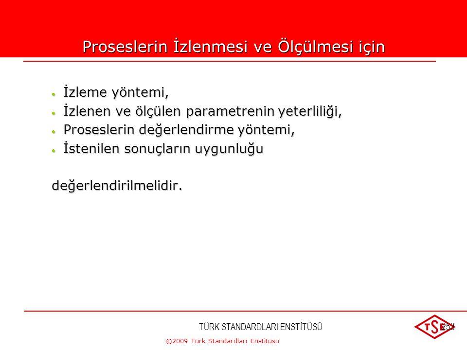 ©2009 Türk Standardları Enstitüsü 8.2.3. Proseslerin İzlenmesi ve Ölçülmesi Not – Uygun metotları belirlerken kuruluşun; her bir prosesi için uygun iz
