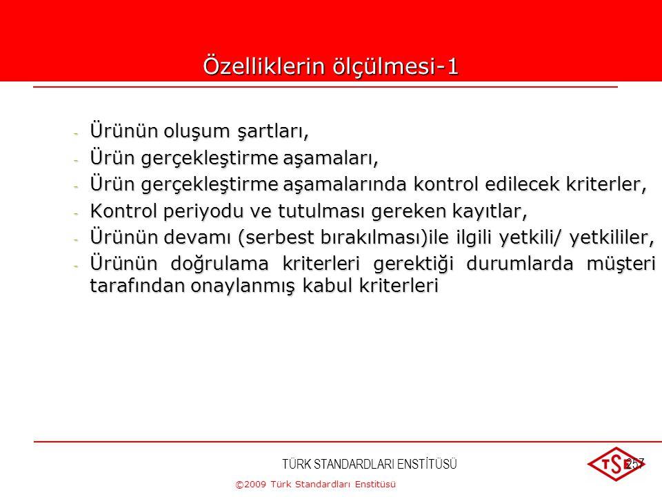 ©2009 Türk Standardları Enstitüsü TÜRK STANDARDLARI ENSTİTÜSÜ256 Ürün Özellikleri - Hammadde özellikleri; - Ürünün fonksiyonel ( kullanım ) özellikler