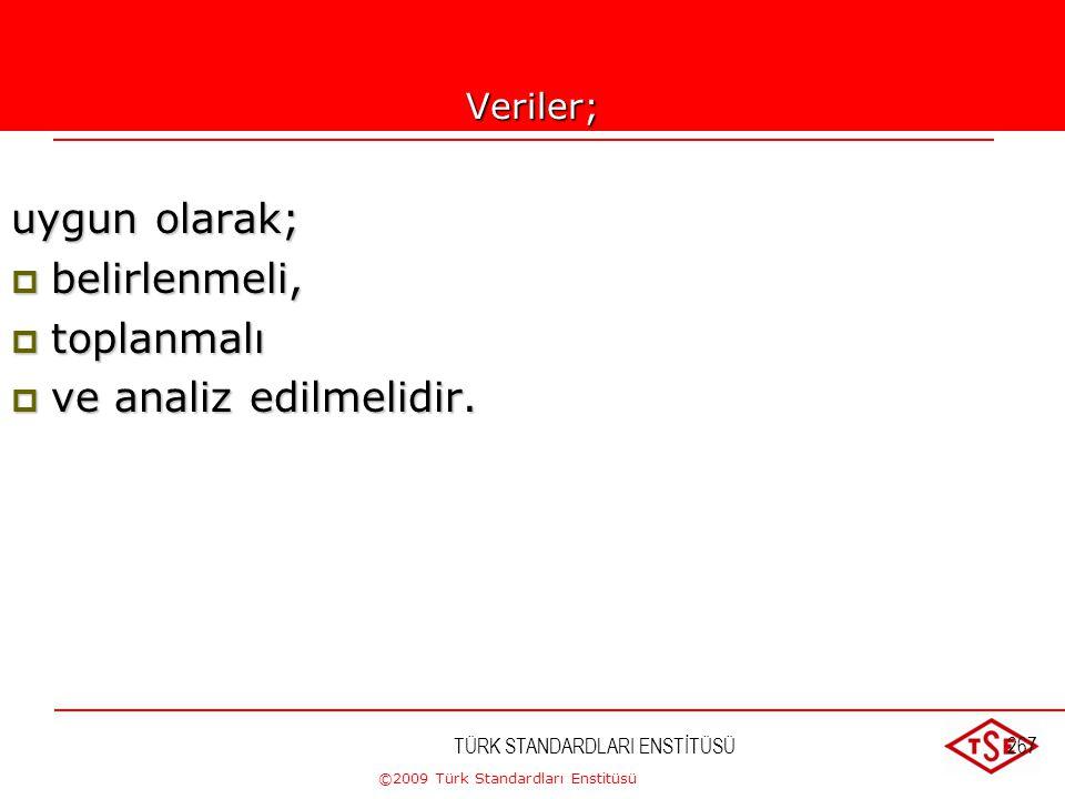 ©2009 Türk Standardları Enstitüsü 8.4. Veri Analizi a) Müşteri memnuniyeti (bkz. Madde 8.2.1), b) Ürün şartlarına uygunluk (bkz. Madde 8.2.4), c) Önle
