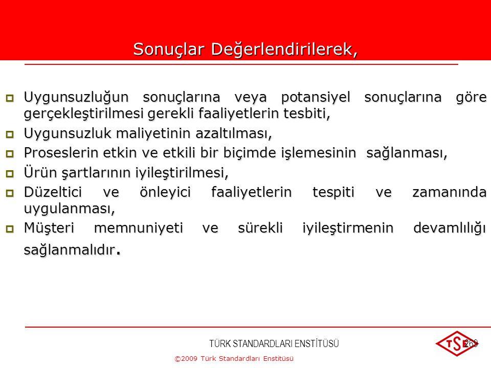 ©2009 Türk Standardları Enstitüsü TÜRK STANDARDLARI ENSTİTÜSÜ268 Analiz sonuçlarına göre;  Müşteri memnuniyeti,  Proses performansı,  İlgili tarafl