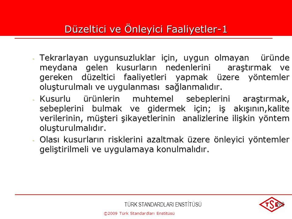 ©2009 Türk Standardları Enstitüsü TÜRK STANDARDLARI ENSTİTÜSÜ279 Önleyici Faaliyet Prosedürü - potansiyel uygunsuzlukların ve sebeplerinin tanımlanmas