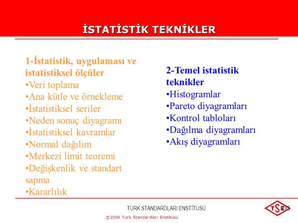 ©2009 Türk Standardları Enstitüsü TÜRK STANDARDLARI ENSTİTÜSÜ284 İSTATİSTİK TEKNİKLER İÇERİK - Kalitede önleme ve tespit kavramları - İstatistiksel pr