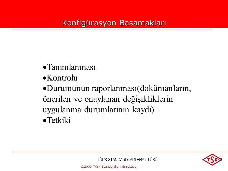 ©2009 Türk Standardları Enstitüsü TÜRK STANDARDLARI ENSTİTÜSÜ287 Konfigürasyon Tanımı Konfigürasyon: ürünün teknik dokümanlarında tanımlanan ve üründe