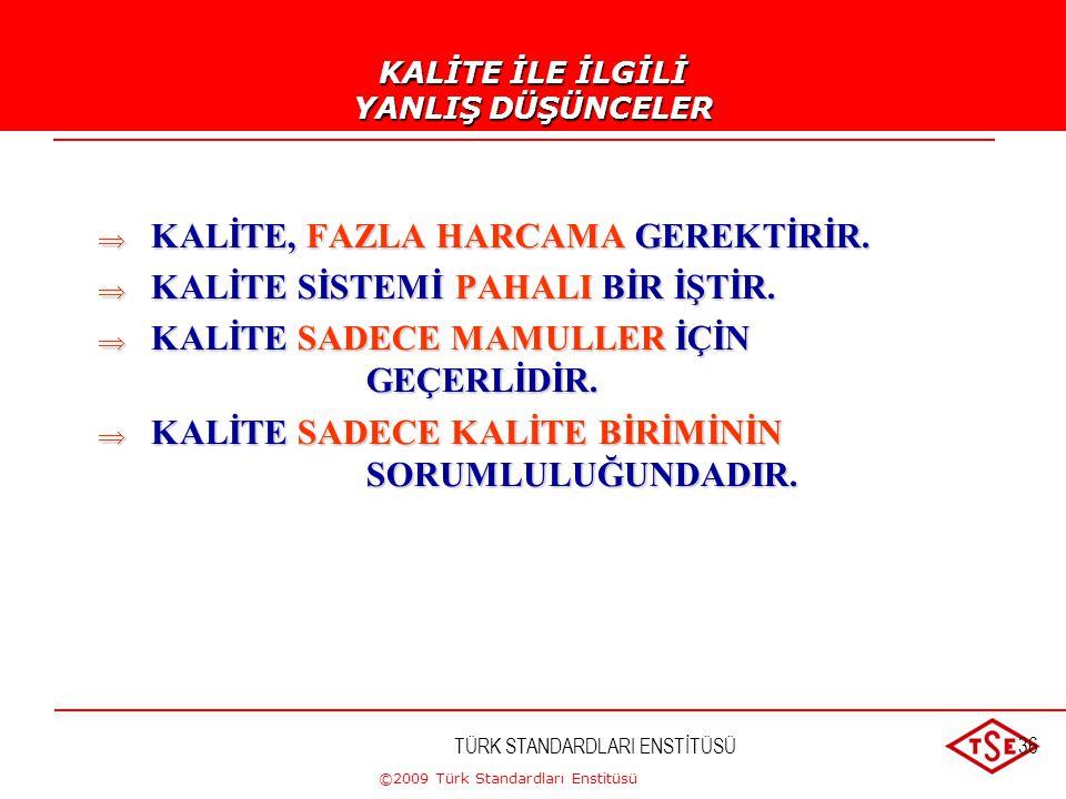 ©2009 Türk Standardları Enstitüsü KALİTE VE VERİMLİLİK Kaliteli ve daha verimli üretim ancak standardizasyon ve sürekli kaynak iyileştirilmesi (makina