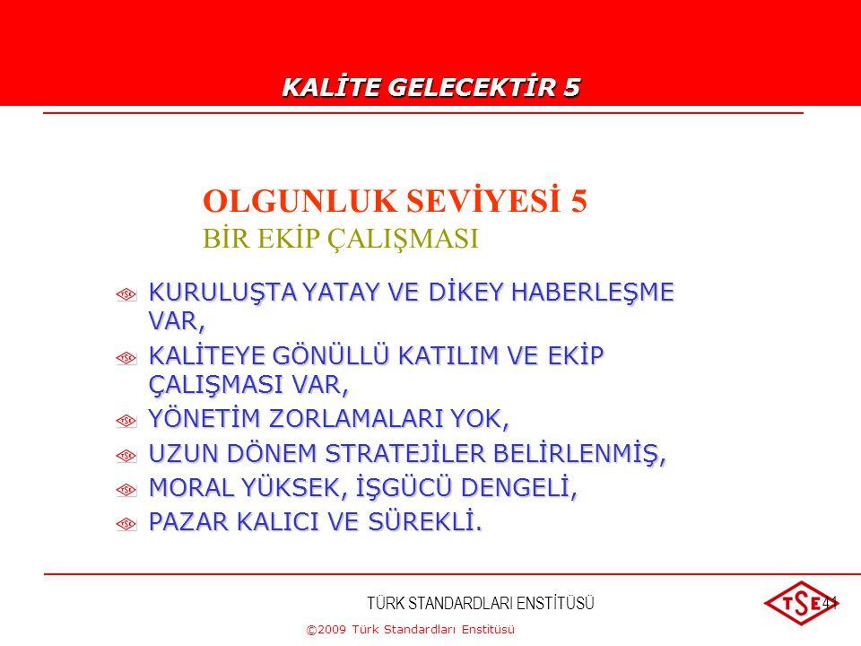 ©2009 Türk Standardları Enstitüsü TÜRK STANDARDLARI ENSTİTÜSÜ40 KALİTE GELECEKTİR !...-4 OLGUNLUK SEVİYESİ 4 ÖNLEYİCİ YÖNETİM STRATEJİSİ KALİTE İYİLEŞ