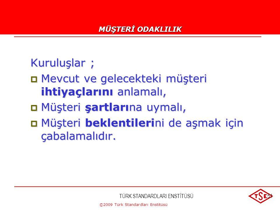 ©2009 Türk Standardları Enstitüsü TÜRK STANDARDLARI ENSTİTÜSÜ50 Kalite Yönetim Prensipleri 1. Müşteri odaklılık 2. Liderlik 3. Çalışanların katılımı 4