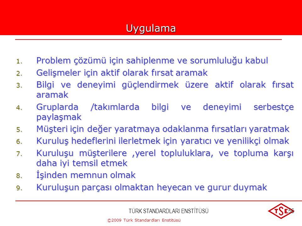 ©2009 Türk Standardları Enstitüsü TÜRK STANDARDLARI ENSTİTÜSÜ55 3-ÇALIŞANLARIN KATILIMI  Çalışanlar bir kuruluşun temelidir.  Çalışmalara tam olarak