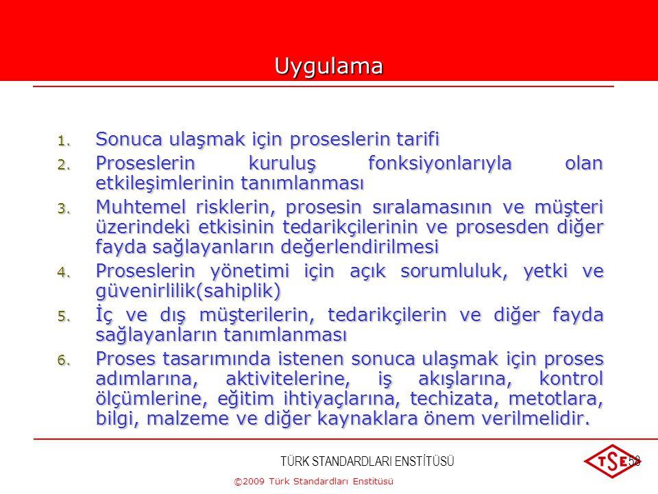 ©2009 Türk Standardları Enstitüsü TÜRK STANDARDLARI ENSTİTÜSÜ57 4-PROSES YAKLAŞIMI  Uygun kaynaklar ve faaliyetler bir proses olarak yönetilirse iste