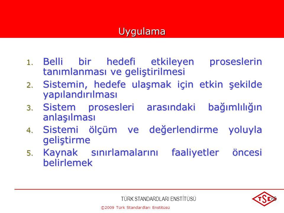 ©2009 Türk Standardları Enstitüsü TÜRK STANDARDLARI ENSTİTÜSÜ59 5-YÖNETİMDE SİSTEM YAKLAŞIMI Belirli bir amaç için birbirleriyle ilişkili proseslerin