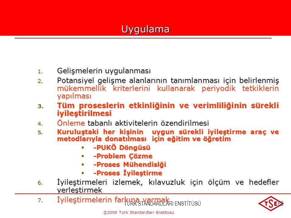 ©2009 Türk Standardları Enstitüsü TÜRK STANDARDLARI ENSTİTÜSÜ61 6-SÜREKLİ İYİLEŞTİRME  Sürekli iyileştirme kuruluşun en kalıcı amacı olmalıdır. PLANL