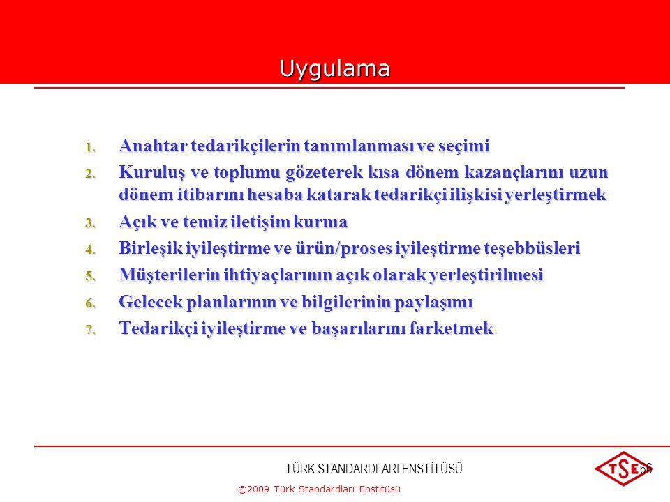 ©2009 Türk Standardları Enstitüsü TÜRK STANDARDLARI ENSTİTÜSÜ65 8-TEDARİKÇİLERLE KARŞILIKLI FAYDAYA DAYANAN İLİŞKİLER  Kuruluş ve tedarikçileri birbi