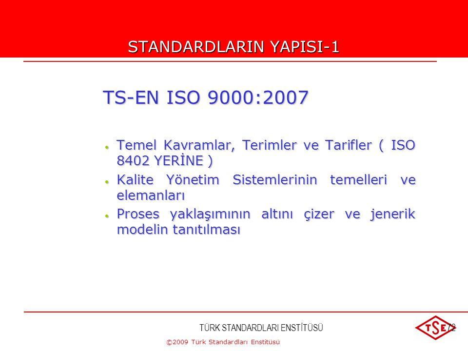 ©2009 Türk Standardları Enstitüsü TÜRK STANDARDLARI ENSTİTÜSÜ71 TS-EN ISO 9001:2008 Serisi Standardlar  TS-EN ISO 9000: 2007 : Kalite Yönetim Sisteml