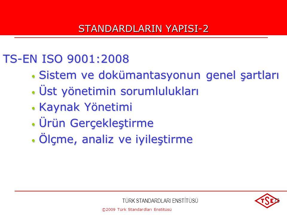 ©2009 Türk Standardları Enstitüsü TÜRK STANDARDLARI ENSTİTÜSÜ72 STANDARDLARIN YAPISI-1 TS-EN ISO 9000:2007 TS-EN ISO 9000:2007  Temel Kavramlar, Teri