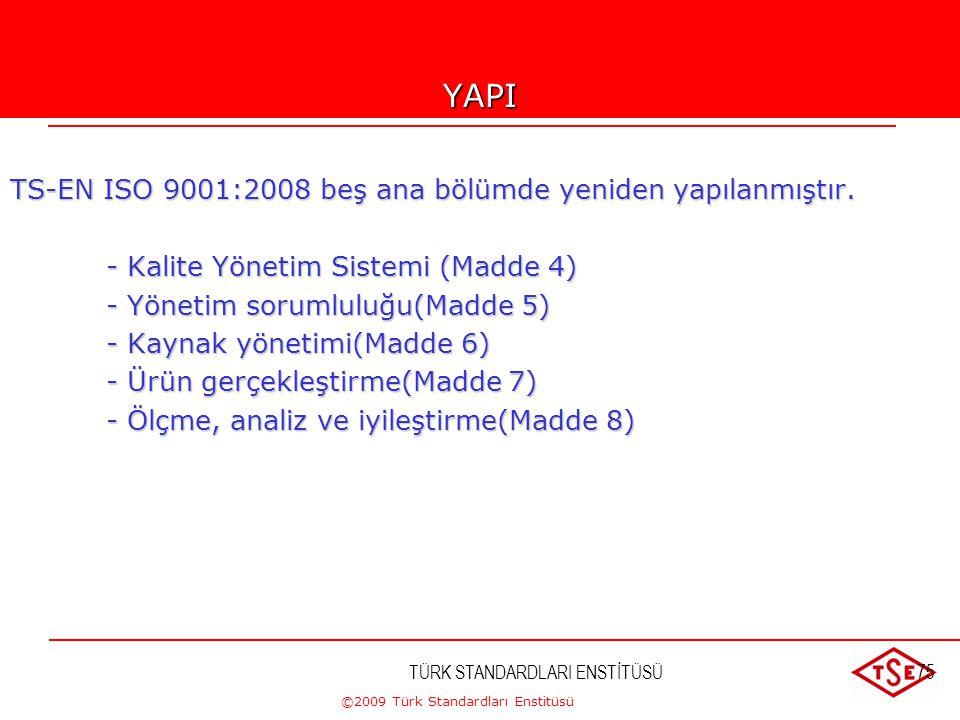 ©2009 Türk Standardları Enstitüsü TÜRK STANDARDLARI ENSTİTÜSÜ74 STANDARDLARIN YAPISI-3 TS-EN ISO 9004:200?  TS-EN ISO 9001 in yapılanmasına paralelli