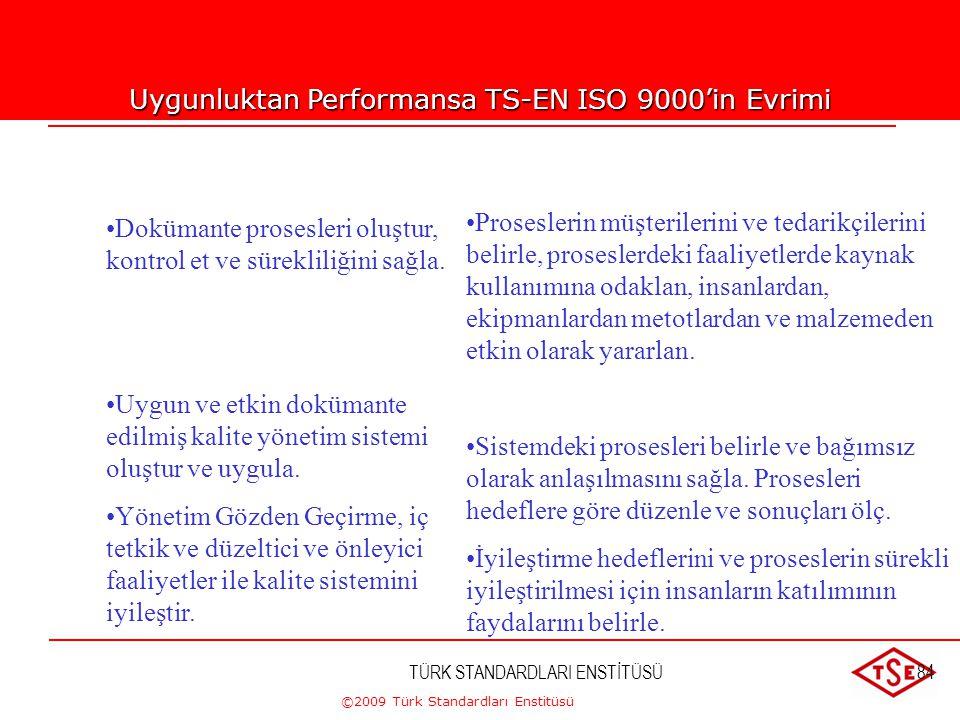 ©2009 Türk Standardları Enstitüsü TÜRK STANDARDLARI ENSTİTÜSÜ83 Uygunluktan Performansa TS-EN ISO 9000'in Evrimi TS-EN ISO 9000:1994 •Belirlenmiş müşt