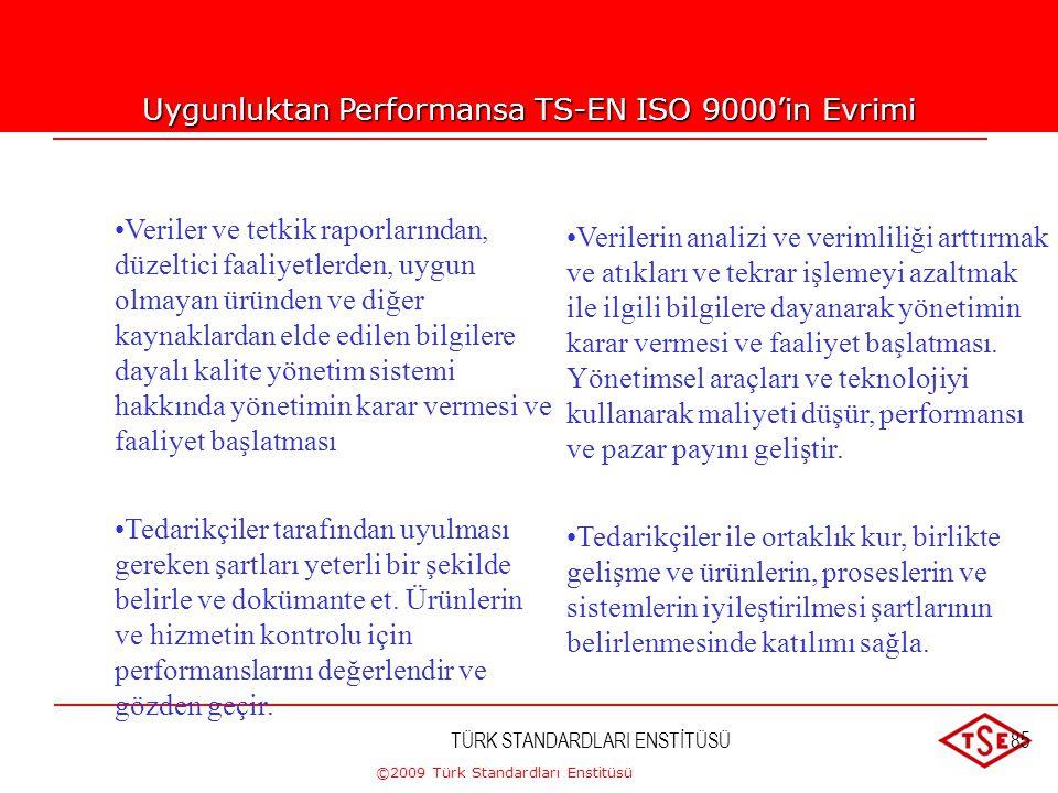 ©2009 Türk Standardları Enstitüsü TÜRK STANDARDLARI ENSTİTÜSÜ84 Uygunluktan Performansa ISO 9000'in Evrimi •Dokümante prosesleri oluştur, kontrol et v