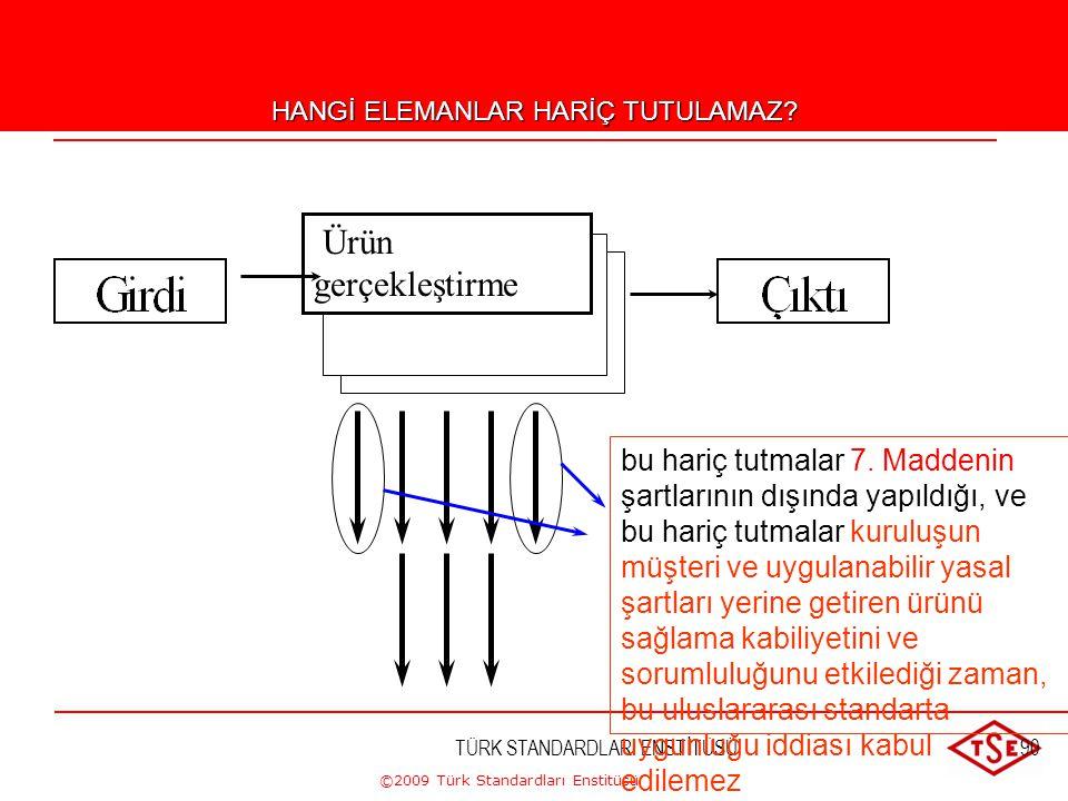 ©2009 Türk Standardları Enstitüsü TÜRK STANDARDLARI ENSTİTÜSÜ89 Hangi elemanlar hariç tutulabilir? Ürünün gerçekleştirilmesi Geniş kapsam Daraltılmış