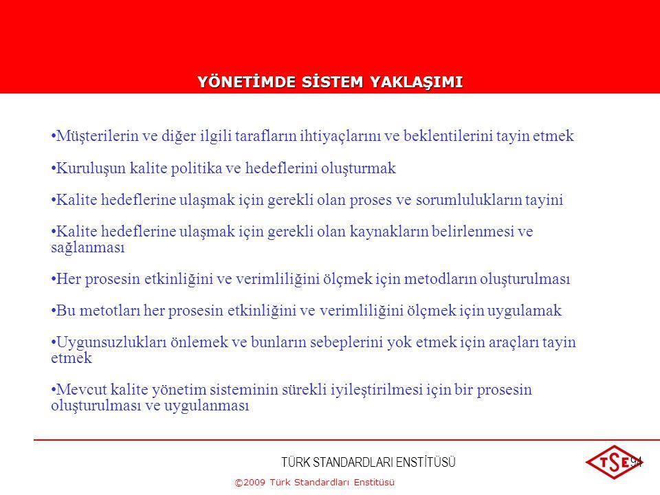 ©2009 Türk Standardları Enstitüsü TÜRK STANDARDLARI ENSTİTÜSÜ93 Hariç Tutulamayacak Şartlar-2 b) TS-EN ISO 9001:1994, ISO 9002:1994 veya ISO 9003:1994