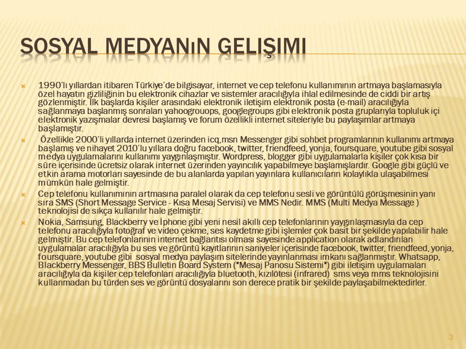  1990'lı yıllardan itibaren Türkiye'de bilgisayar, internet ve cep telefonu kullanımının artmaya başlamasıyla özel hayatın gizliliğinin bu elektronik