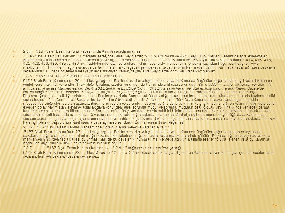  2.8.4 5187 Sayılı Basın Kanunu kapsamında Kimliğin açıklanmaması  5187 Sayılı Basın Kanunu'nun 21.maddesi gereğince Süreli yayınlarda;22.11.2001 ta