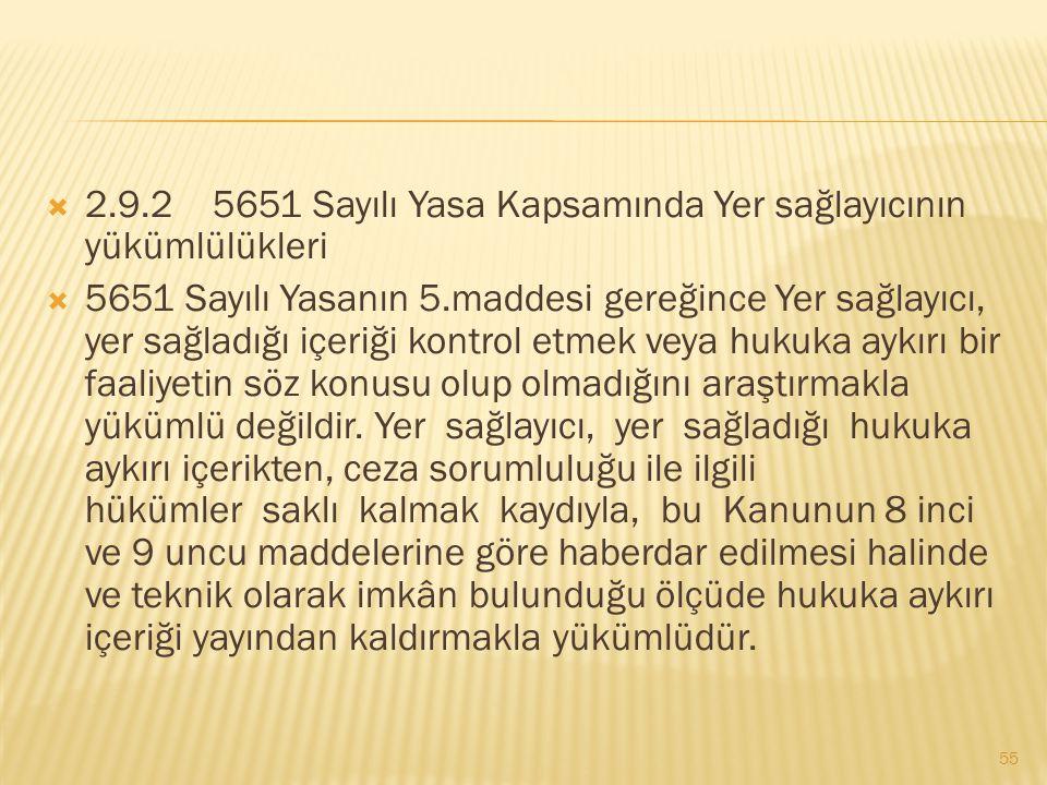  2.9.2 5651 Sayılı Yasa Kapsamında Yer sağlayıcının yükümlülükleri  5651 Sayılı Yasanın 5.maddesi gereğince Yer sağlayıcı, yer sağladığı içeriği kon