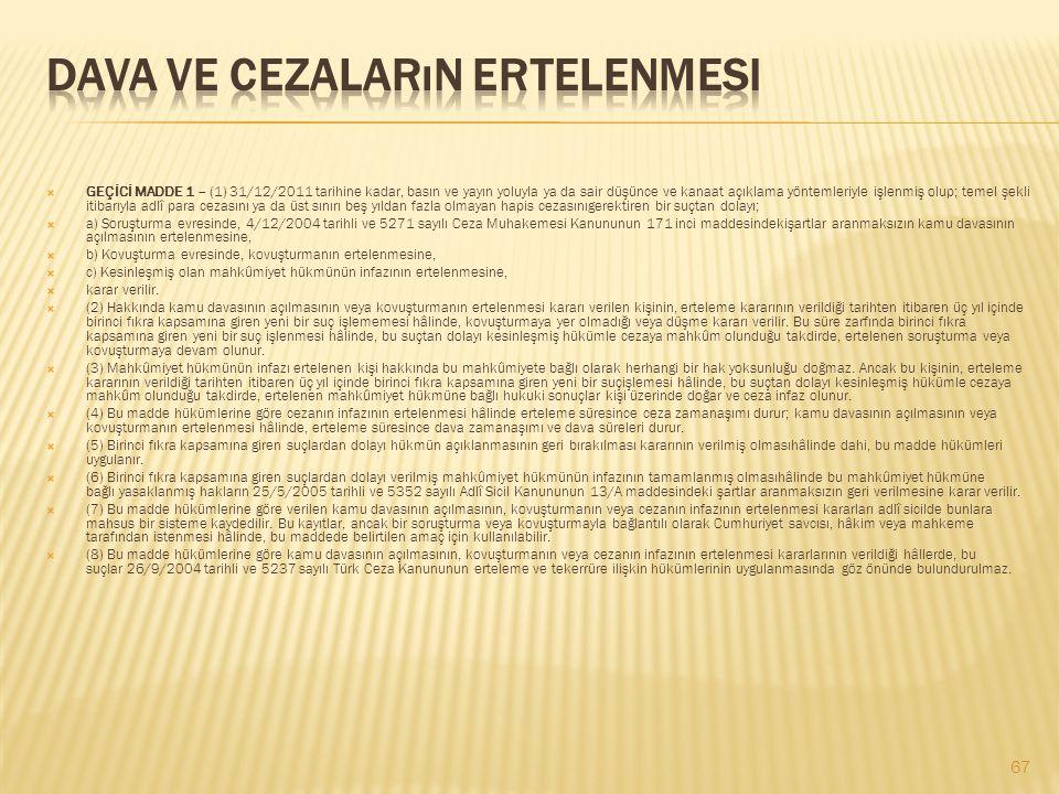  GEÇİCİ MADDE 1 – (1) 31/12/2011 tarihine kadar, basın ve yayın yoluyla ya da sair düşünce ve kanaat açıklama yöntemleriyle işlenmiş olup; temel şekl