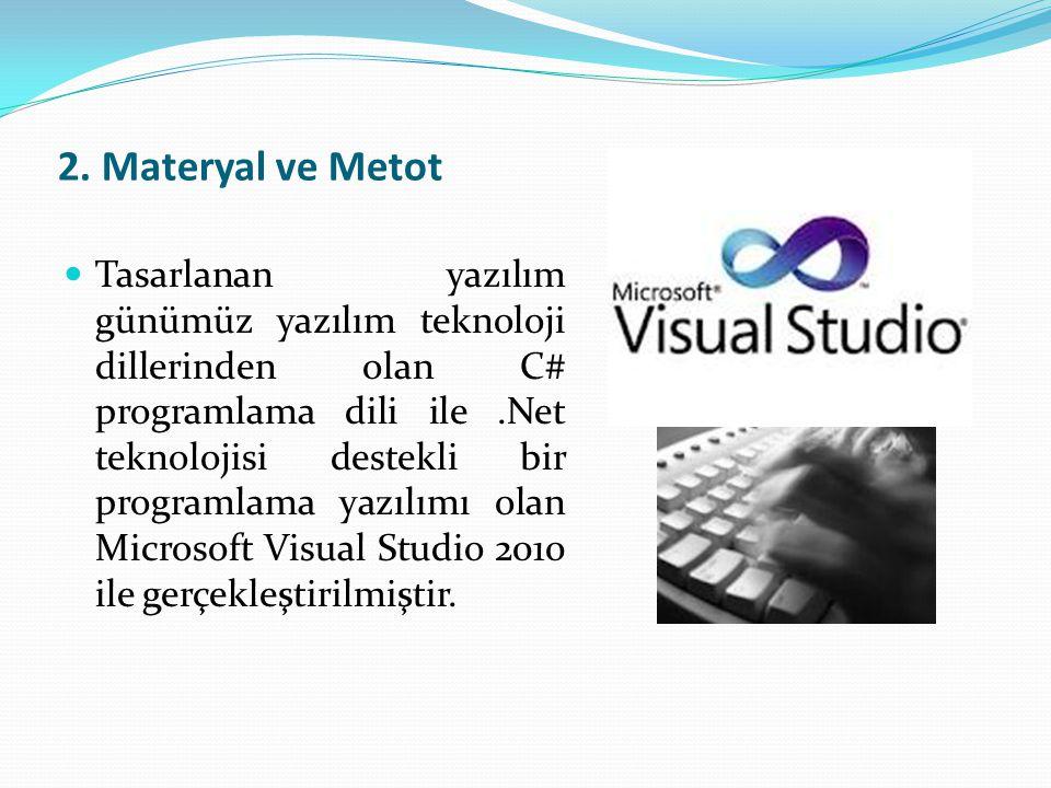 2. Materyal ve Metot  Tasarlanan yazılım günümüz yazılım teknoloji dillerinden olan C# programlama dili ile.Net teknolojisi destekli bir programlama
