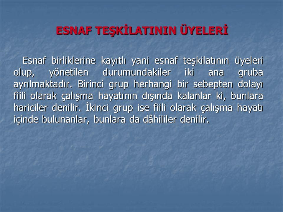 ESNAF TEŞKİLATININ ÜYELERİ Esnaf birliklerine kayıtlı yani esnaf teşkilatının üyeleri olup, yönetilen durumundakiler iki ana gruba ayrılmaktadır.