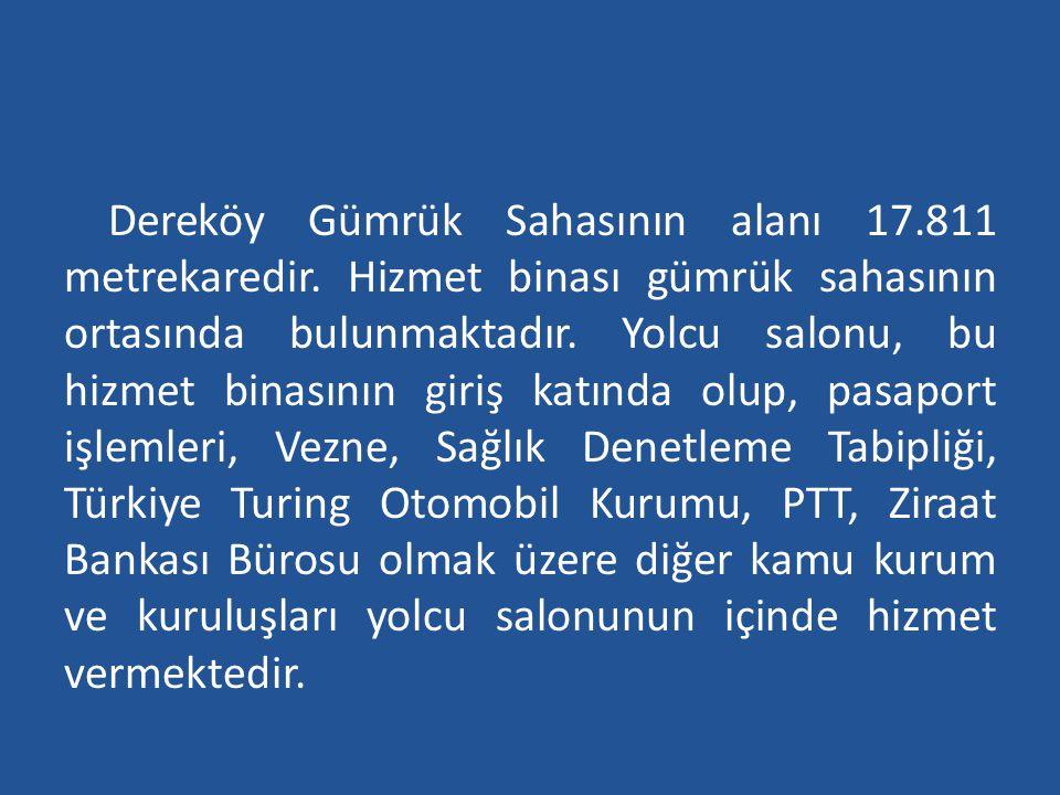 Dereköy Gümrük Sahasının alanı 17.811 metrekaredir. Hizmet binası gümrük sahasının ortasında bulunmaktadır. Yolcu salonu, bu hizmet binasının giriş ka