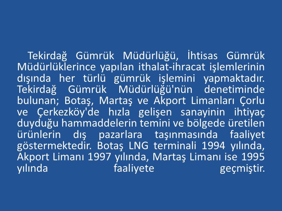 Tekirdağ Gümrük Müdürlüğü, İhtisas Gümrük Müdürlüklerince yapılan ithalat-ihracat işlemlerinin dışında her türlü gümrük işlemini yapmaktadır. Tekirdağ