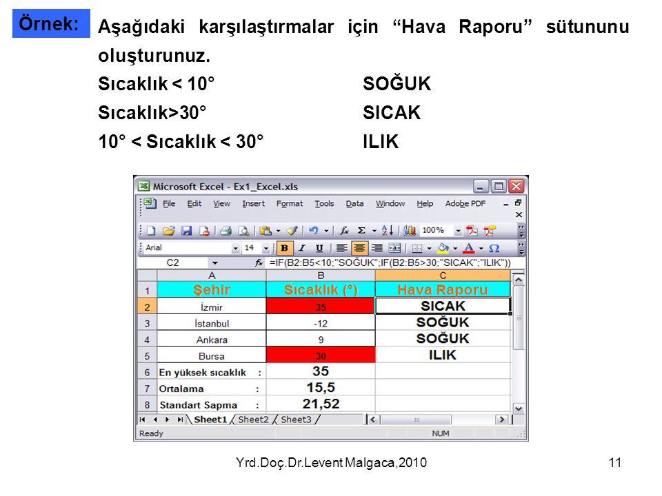 """Yrd.Doç.Dr.Levent Malgaca,201011 Örnek: Aşağıdaki karşılaştırmalar için """"Hava Raporu"""" sütununu oluşturunuz. Sıcaklık < 10°SOĞUK Sıcaklık>30°SICAK 10°"""
