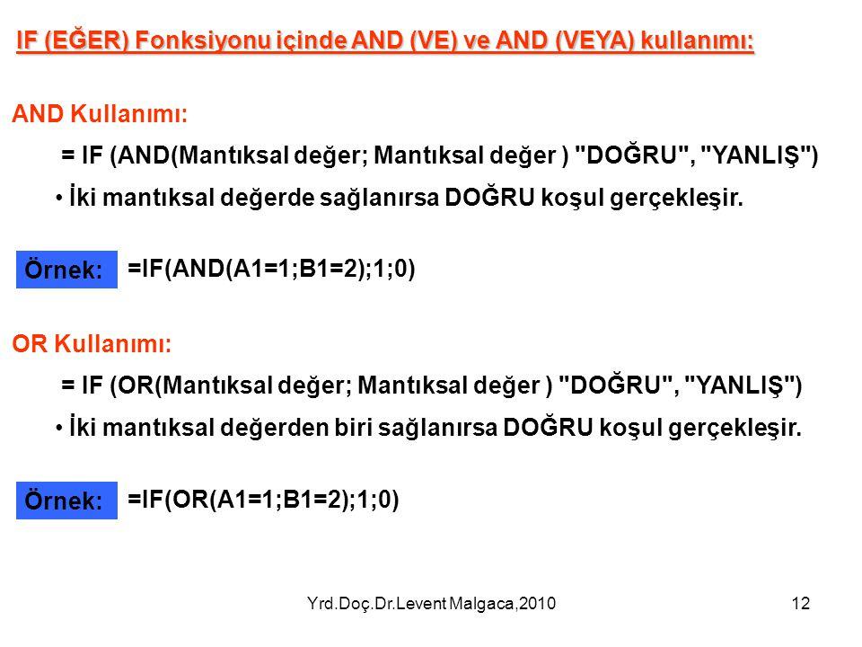 Yrd.Doç.Dr.Levent Malgaca,201012 IF (EĞER) Fonksiyonu içinde AND (VE) ve AND (VEYA) kullanımı: AND Kullanımı: = IF (AND(Mantıksal değer; Mantıksal değ
