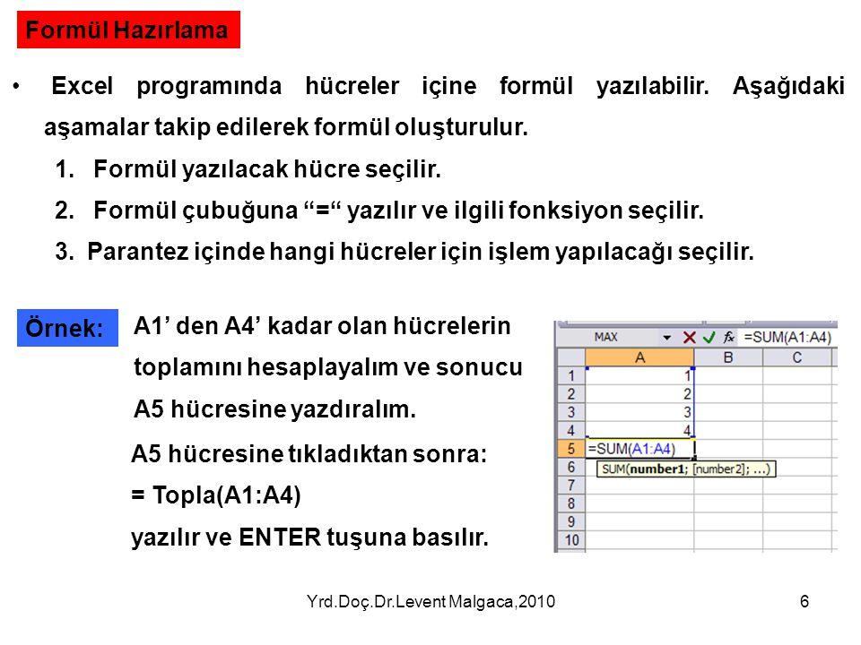 Yrd.Doç.Dr.Levent Malgaca,20106 Formül Hazırlama • Excel programında hücreler içine formül yazılabilir. Aşağıdaki aşamalar takip edilerek formül oluşt
