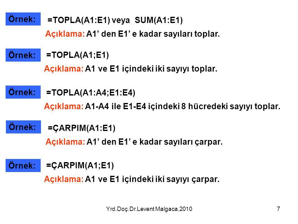 Yrd.Doç.Dr.Levent Malgaca,20107 Örnek: =TOPLA(A1:E1) veya SUM(A1:E1) Açıklama: A1' den E1' e kadar sayıları toplar. =TOPLA(A1;E1) Açıklama: A1 ve E1 i