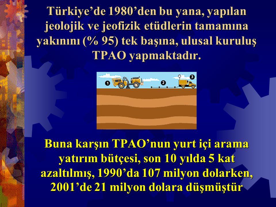 Türkiye'de 1980'den bu yana, yapılan jeolojik ve jeofizik etüdlerin tamamına yakınını (% 95) tek başına, ulusal kuruluş TPAO yapmaktadır.