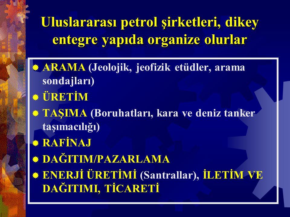 Uluslararası petrol şirketleri, dikey entegre yapıda organize olurlar  ARAMA (Jeolojik, jeofizik etüdler, arama sondajları)  ÜRETİM  TAŞIMA (Boruhatları, kara ve deniz tanker taşımacılığı)  RAFİNAJ  DAĞITIM/PAZARLAMA  ENERJİ ÜRETİMİ (Santrallar), İLETİM VE DAĞITIMI, TİCARETİ