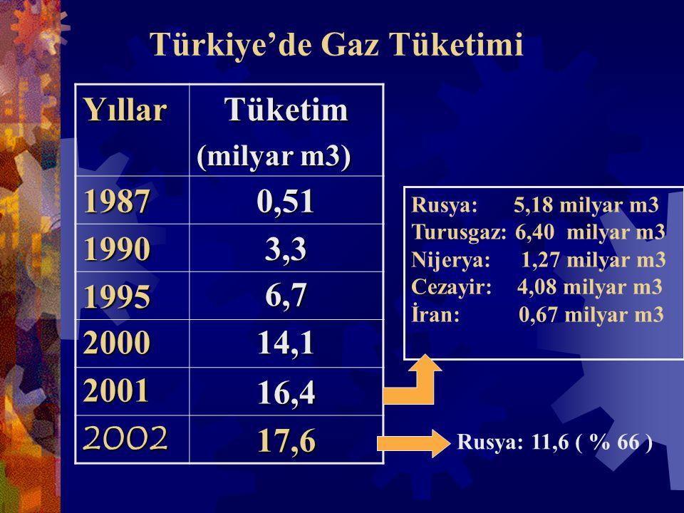 Türkiye'de Gaz Tüketimi YıllarTüketim (milyar m3) 19870,51 19903,3 19956,7 200014,1 200116,4 200217,6 Rusya: 5,18 milyar m3 Turusgaz: 6,40 milyar m3 Nijerya: 1,27 milyar m3 Cezayir: 4,08 milyar m3 İran: 0,67 milyar m3 Rusya: 11,6 ( % 66 )