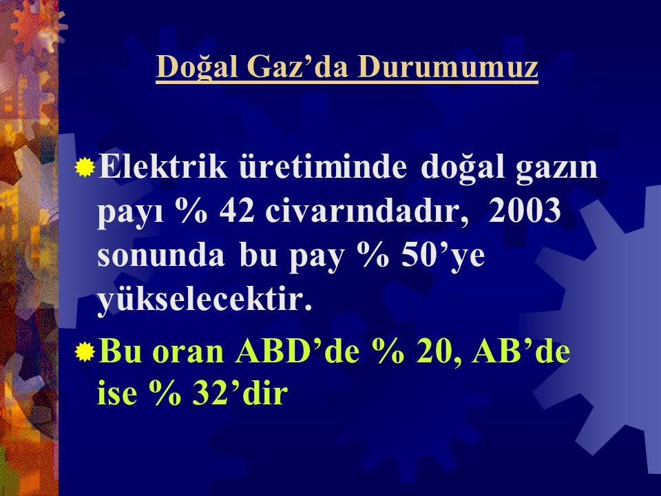 Doğal Gaz'da Durumumuz  Elektrik üretiminde doğal gazın payı % 42 civarındadır, 2003 sonunda bu pay % 50'ye yükselecektir.
