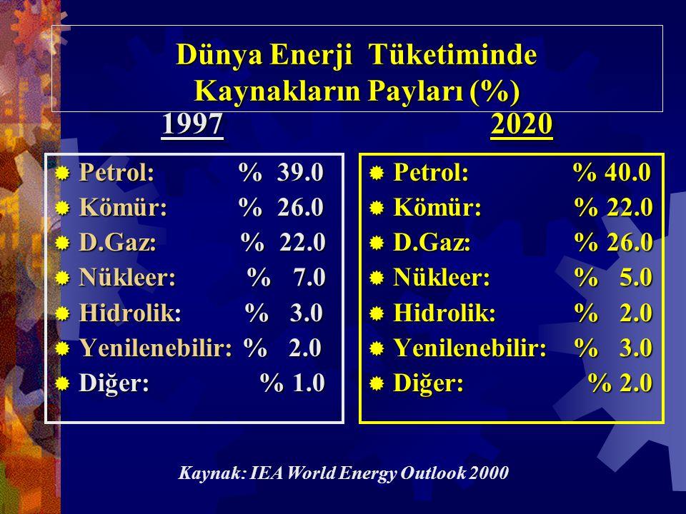Dünya Enerji Tüketiminde Kaynakların Payları (%)  Petrol: % 39.0  Kömür: % 26.0  D.Gaz: % 22.0  Nükleer: % 7.0  Hidrolik: % 3.0  Yenilenebilir: % 2.0  Diğer: % 1.0  Petrol: % 40.0  Kömür: % 22.0  D.Gaz: % 26.0  Nükleer: % 5.0  Hidrolik: % 2.0  Yenilenebilir:% 3.0  Diğer: % 2.0 1997199720202020 Kaynak: IEA World Energy Outlook 2000