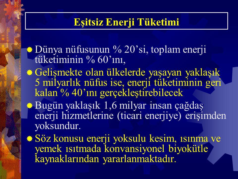Eşitsiz Enerji Tüketimi  Dünya nüfusunun % 20'si, toplam enerji tüketiminin % 60'ını,  Gelişmekte olan ülkelerde yaşayan yaklaşık 5 milyarlık nüfus ise, enerji tüketiminin geri kalan % 40'ını gerçekleştirebilecek  Bugün yaklaşık 1,6 milyar insan çağdaş enerji hizmetlerine (ticari enerjiye) erişimden yoksundur.