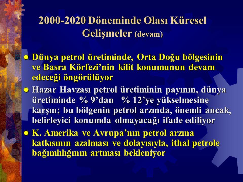 2000-2020 Döneminde Olası Küresel Gelişmeler (devam)  Dünya petrol üretiminde, Orta Doğu bölgesinin ve Basra Körfezi'nin kilit konumunun devam edeceği öngörülüyor  Hazar Havzası petrol üretiminin payının, dünya üretiminde % 9'dan % 12'ye yükselmesine karşın; bu bölgenin petrol arzında, önemli ancak, belirleyici konumda olmayacağı ifade ediliyor  K.