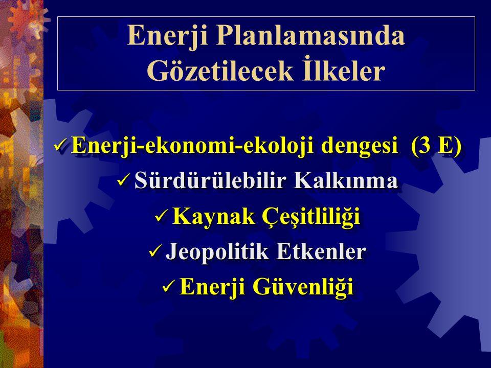 Enerji Planlamasında Gözetilecek İlkeler  Enerji-ekonomi-ekoloji dengesi (3 E)  Sürdürülebilir Kalkınma  Kaynak Çeşitliliği  Jeopolitik Etkenler  Enerji Güvenliği  Enerji-ekonomi-ekoloji dengesi (3 E)  Sürdürülebilir Kalkınma  Kaynak Çeşitliliği  Jeopolitik Etkenler  Enerji Güvenliği