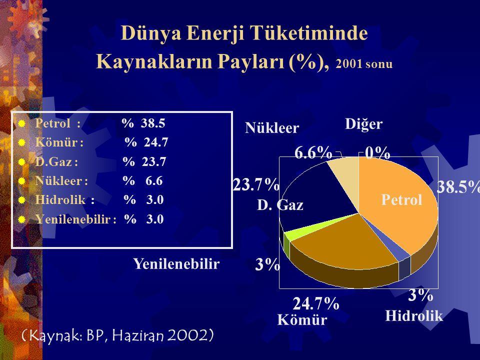 Dünya Enerji Tüketiminde Kaynakların Payları (%), 2001 sonu  Petrol : % 38.5  Kömür : % 24.7  D.Gaz : % 23.7  Nükleer : % 6.6  Hidrolik : % 3.0  Yenilenebilir : % 3.0 Petrol Kömür Yenilenebilir Hidrolik Nükleer D.