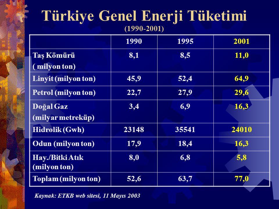 Türkiye Genel Enerji Tüketimi (1990-2001) 199019952001 Taş Kömürü ( milyon ton) 8,18,511,0 Linyit (milyon ton)45,952,464,9 Petrol (milyon ton)22,727,929,6 Doğal Gaz (milyar metreküp) 3,46,916,3 Hidrolik (Gwh)231483554124010 Odun (milyon ton)17,918,416,3 Hay./Bitki Atık (milyon ton) 8,06,85,8 Toplam (milyon ton)52,663,777,0 Kaynak: ETKB web sitesi, 11 Mayıs 2003